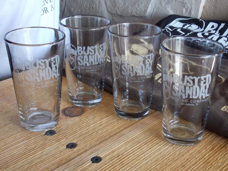 Busted Sandal's beer glasses.