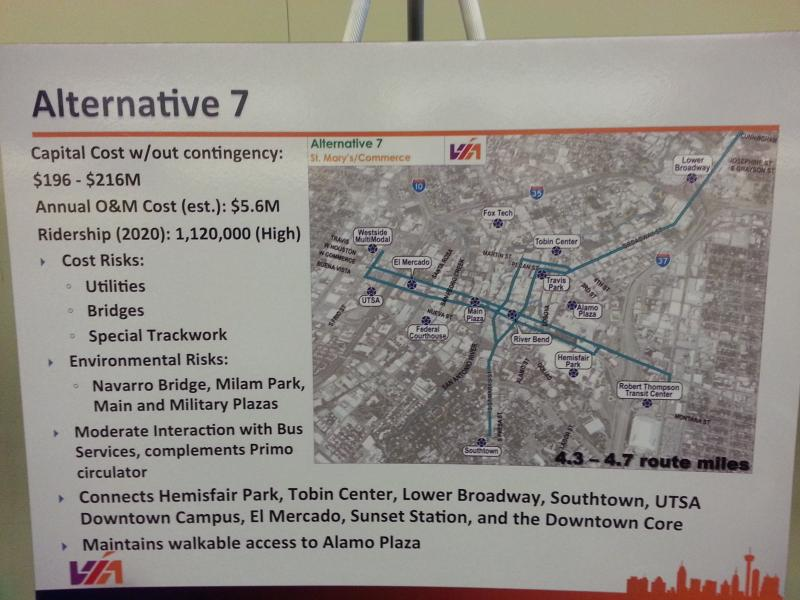 Map of one Commerce Street route option for VIA's streetcar project.