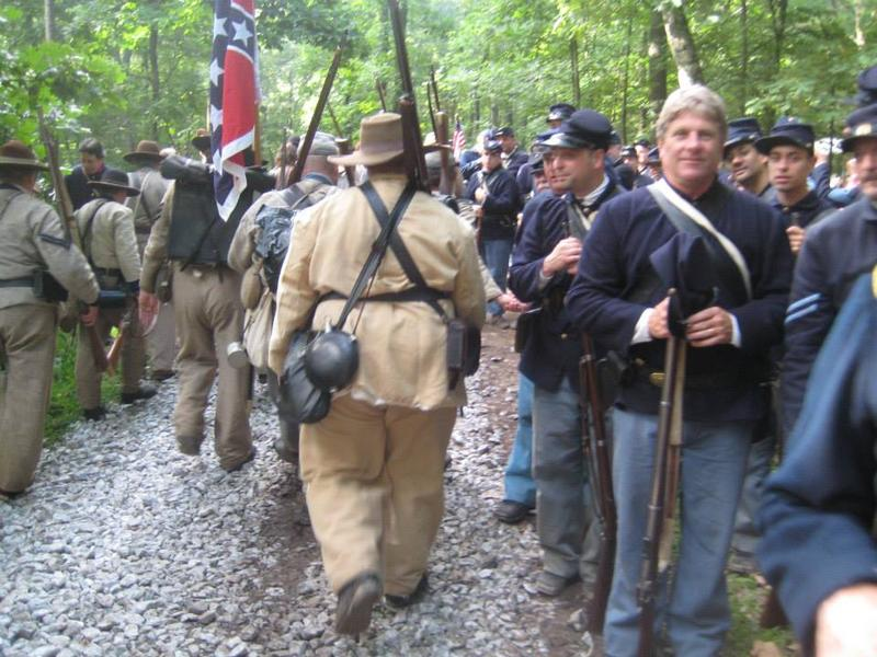 Marching through federal troops before the first battle.