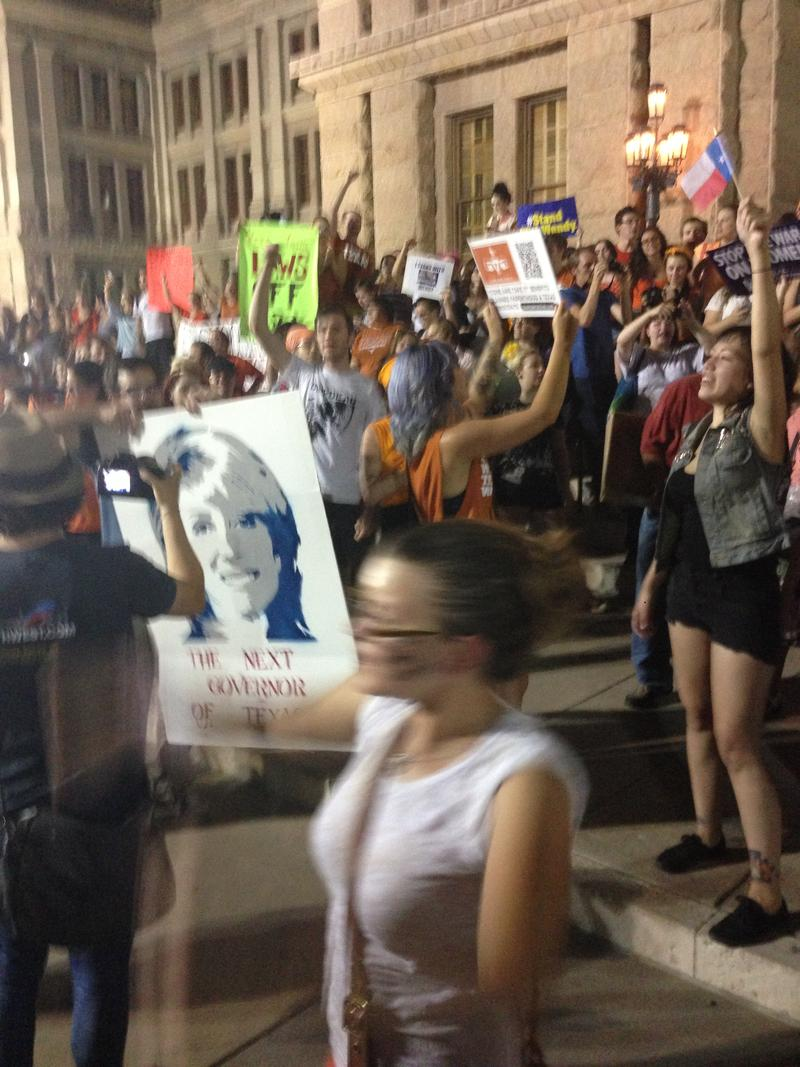Pro-choice rally outside the capitol on the night of July 1, 2013.