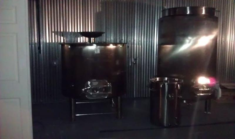 The mash tun and kettle.