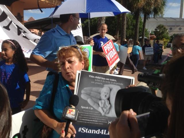 Pro-life protesters were outside the Stand With Texas Women rally.