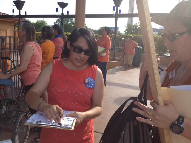 "Workers at the Stand With Texas Women Rally in San Antonio a few weeks ago registered people to vote as part of the party's push to ""turn Texas blue."""