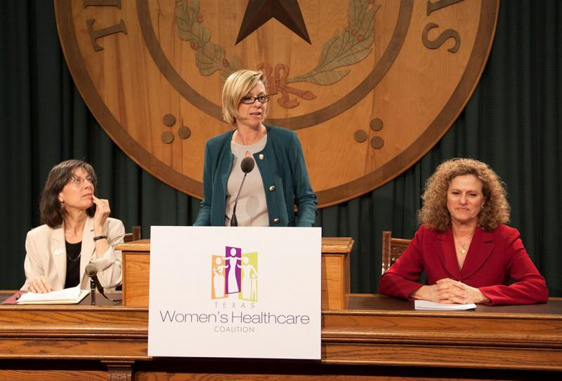 Texas Rep. Sarah Davis (center) at the Women's Healthcare Coalition press conference in February.
