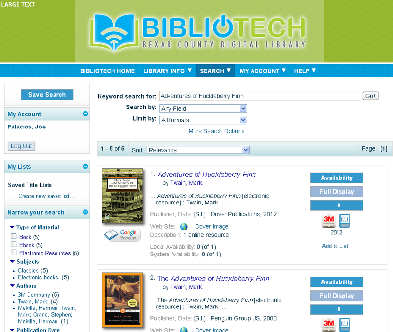 A sample showing of the selection available on BiblioTech's server. Once downloaded patrons can view the titles on their smartphone or eReader