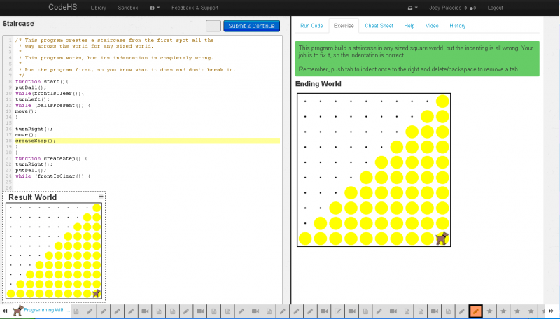 A screenshot depiciting one of the more advanced beginner levels of CodeHS.
