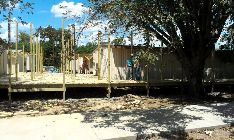 Construction on temporary buildings continued in late August 2013, just before school was to start.