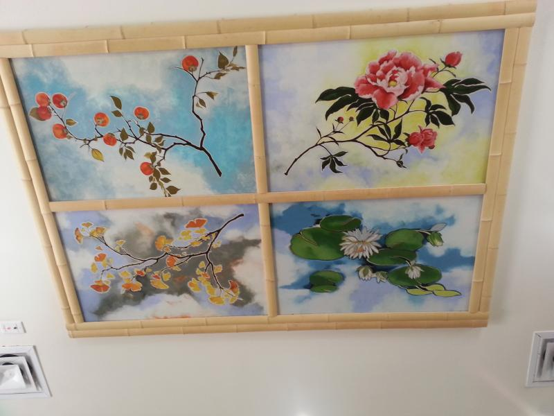 "Nancy Enjoji's paintings of ""The Four Seasons"" hangs on the ceiling of the Jingu House at the Japanese Tea Garden near Brackenridge Park"