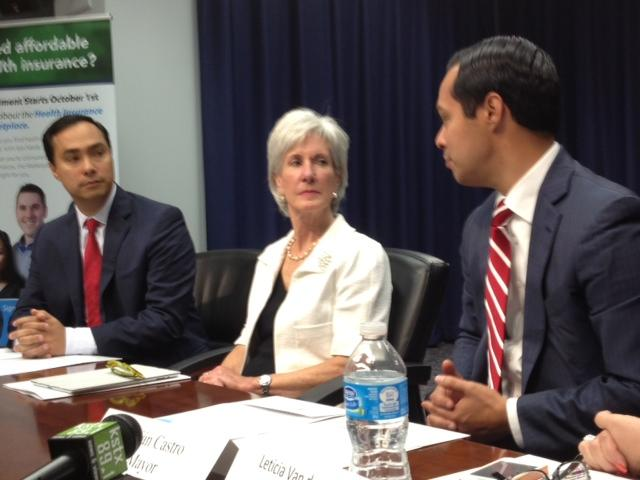 Congressman Joaquín Castro (left) with Health and Human Services Secretary Kathleen Sebelius (center) and his brother, San Antonio Mayor Julián Castro (right).
