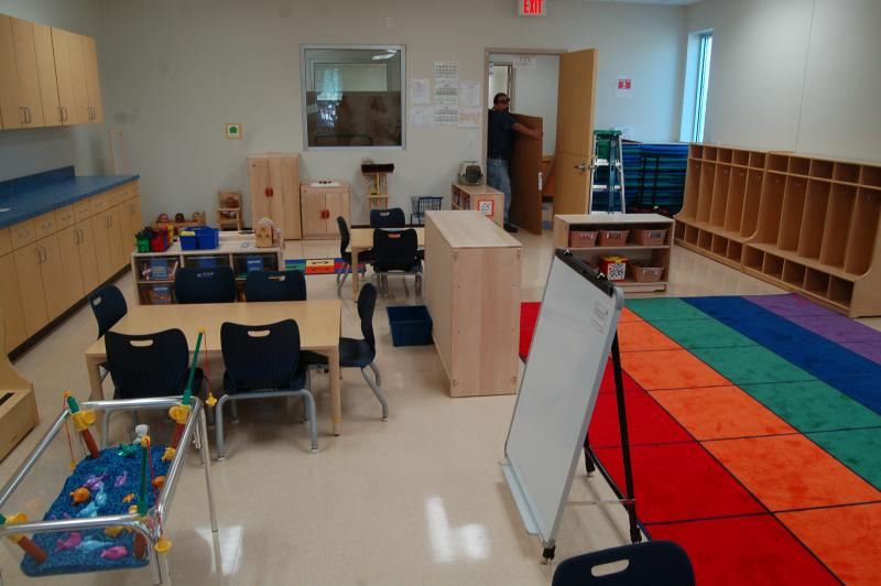Classrooms at the South Side Pre-K center are getting furniture and equipment. One model classroom is set up for a state employee to license the center.