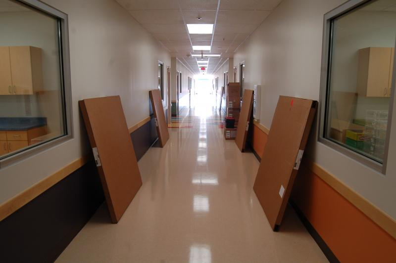 The hallway of the Pre-K 4 SA center is filled with furniture for the classrooms.