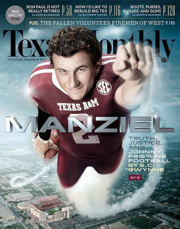 The cover of the September issue of Texas Monthly features Kerrville-native and Texas A&M football star Johnny Manziel.