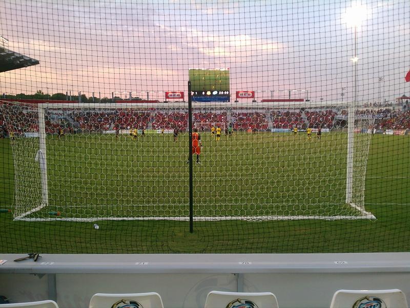 Behind the goal at the San Antonio Scorpion's Toyota Field.