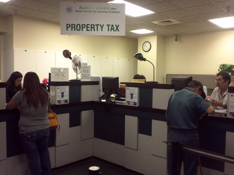 Property tax area at the Bexar County tax office.