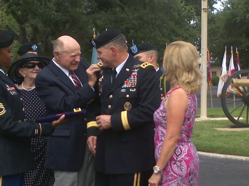 Lt. Gen. Perry Wiggins receives new star on his promotion Sept 4, 2013, Ft. Sam Houston Quadrangle.