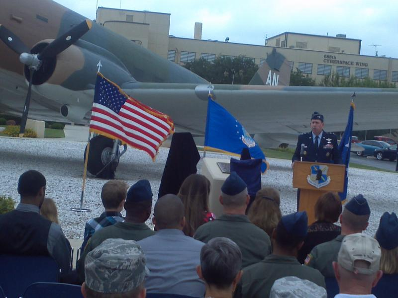"Maj. Gen. John Shanahan speaks at memorial ceremony for fallen ""silent warriors"" from the Air Force ISR Agency"