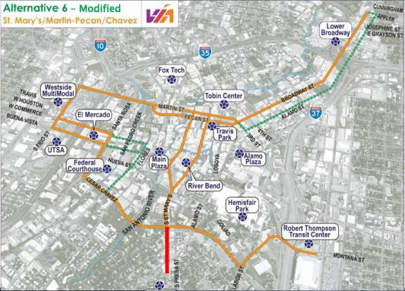 The many proposed routes for streetcar pictured have been narrowed to just one in the Broadway corridor.