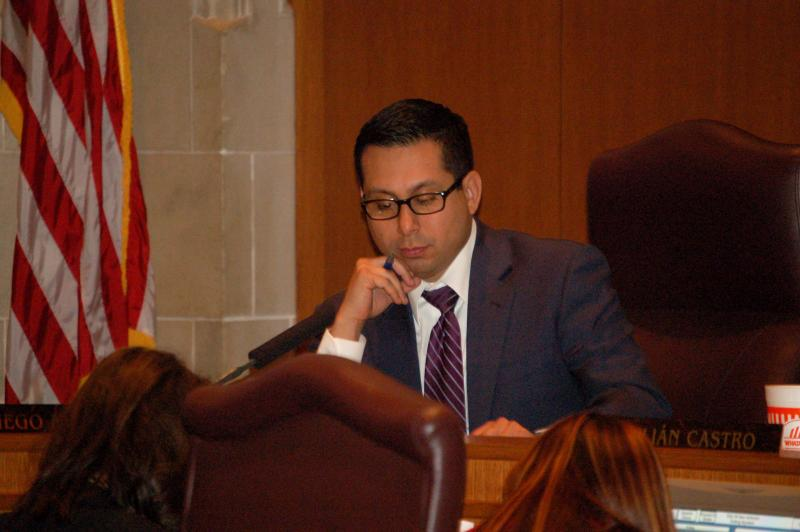 Councilman Diego Bernal, who has been spearheading the non-discrimination ordinance revisions, listens to residents signed up to speak in the early morning hours of Sept. 5, 2013