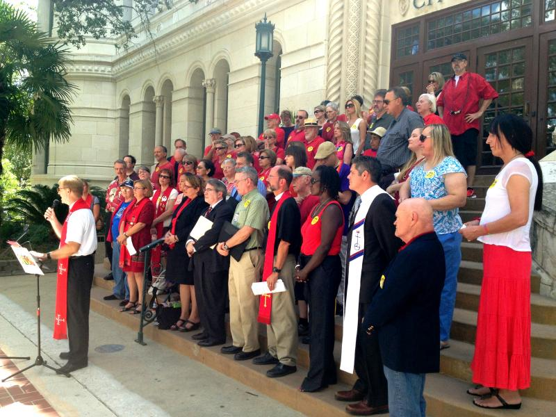 Faith leaders who support the ordinance spoke on the steps of City Hall ahead of the vote Thursday by the city council that could add protections for gender identity, sexual orientation and veteran status to the list of protected classes in San Antonio.