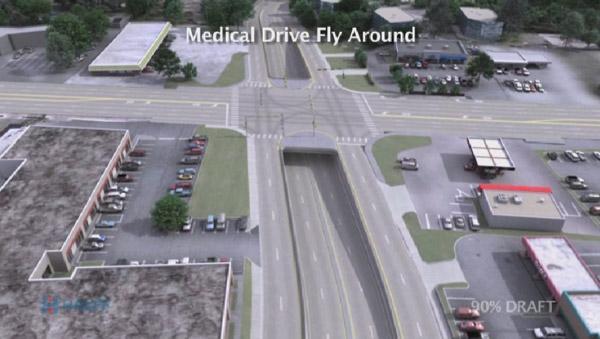 Design for the Fredericksburg Road/Medical Drive interchange.