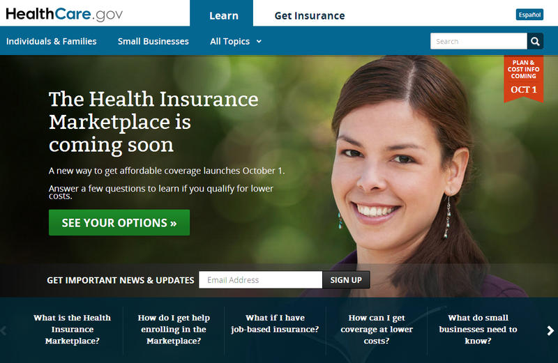 Screen shot from HealthCare.gov, which is gearing up for the Oct. 1 opening of the online insurance exchanges.