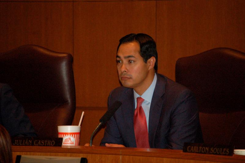 Mayor Julian Castro listens to residents speaking in support and against a proposed non-discrimination ordinance in the early morning hours of Sept. 5, 2013.