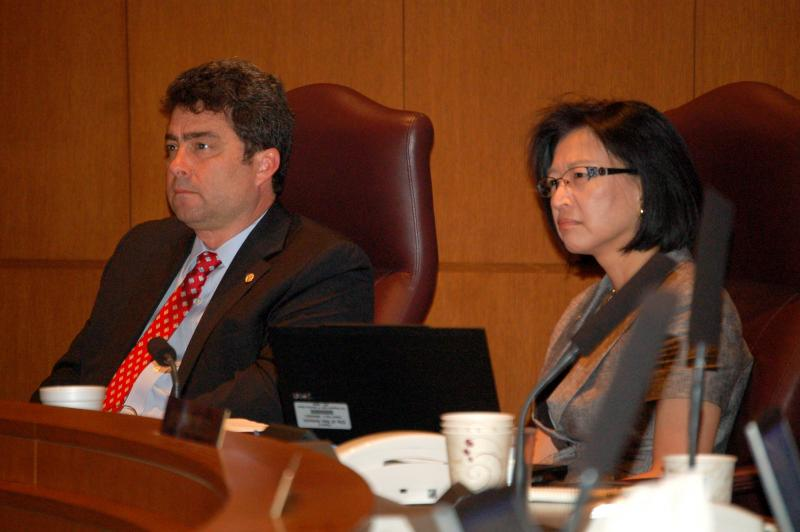 Councilwoman Elisa Chan and Councilman Carlton Soules listen to residents during a recent council meeting.