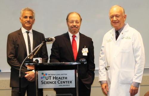 Left to right, Dr. David Weiss, vice president for research; Dr. Francisco González-Scarano, dean of the School of Medicine and vice president for medical affairs; and Dr. Robert Clark, director of the Institute for Integration of Medicine and Science, an