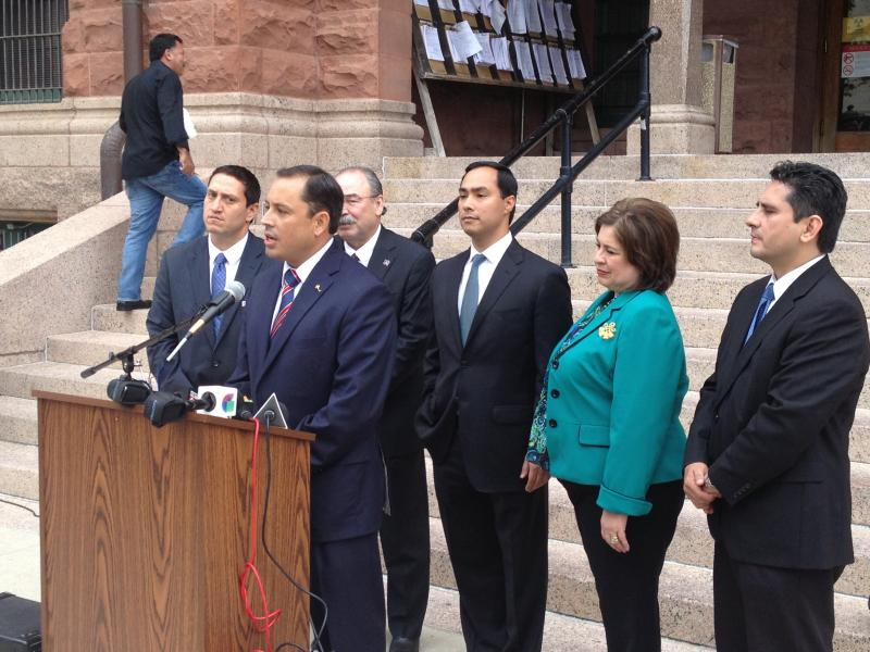 Bexar County Juge Carlo Key is joined by members of the Bexar County Democratic delegation.