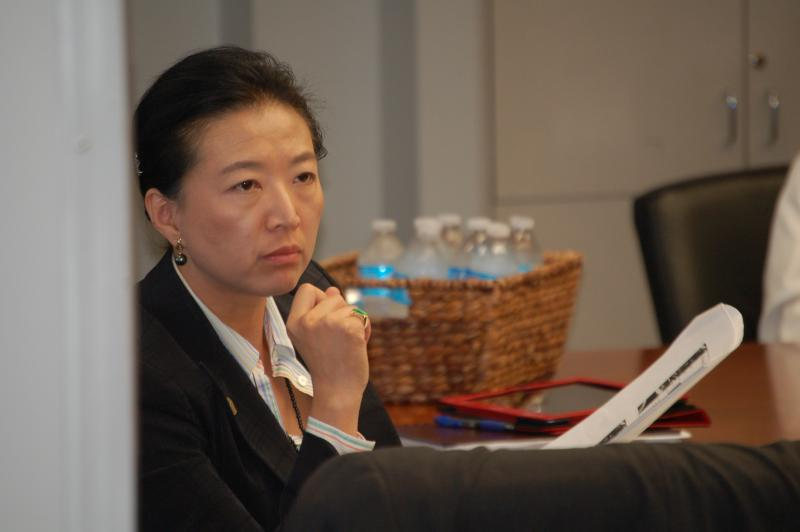 Councilwoman Elisa Chan listens during a council B session. The North Side representative is expected to file for the Texas Senate in November.