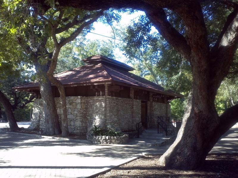 Many of the park's structures built in the 20th Century are now antiquities in their own right, such as this park restroom facility