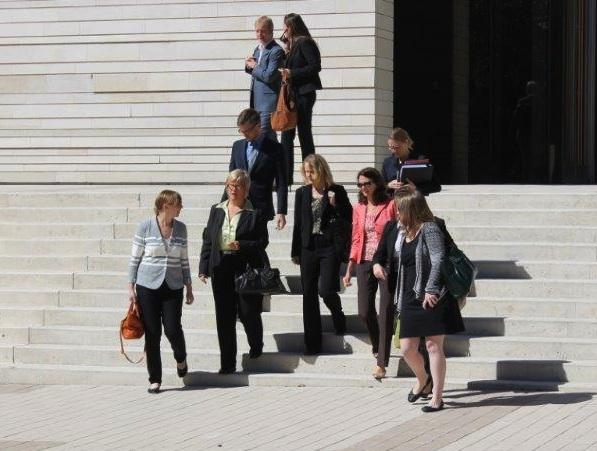 Attorneys exit the court building after final arguments in what is the first legal challenge of Texas' new abortion law.