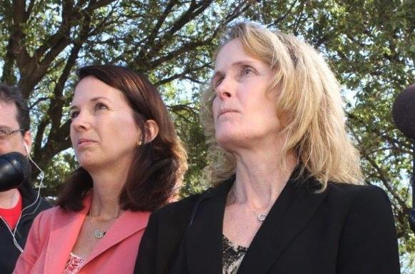 Sarah Wheat, Planned Parenthood Texas, and Janet Creps, attorney for the Center for Reproductive Rights..