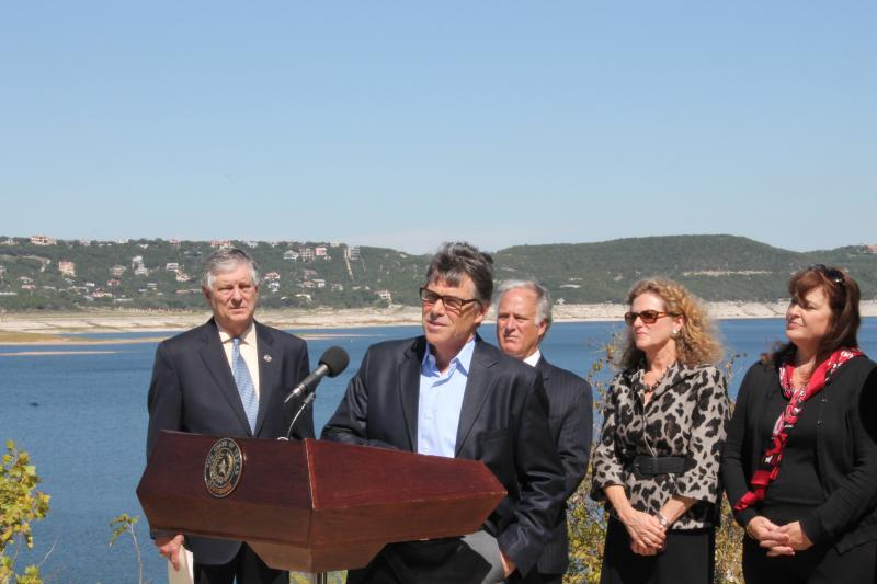 "Using the dwindling Lake Travis as a backdrop, Gov. Perry asked Texans to vote ""yes"" on Prop 6."