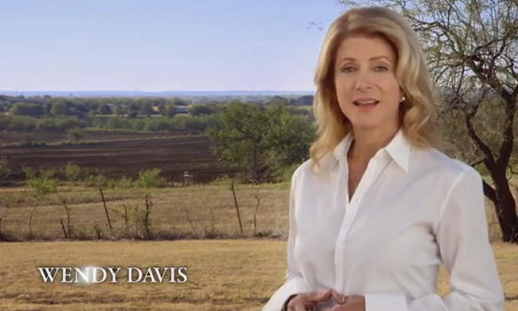 Wendy Davis in a campaign ad highlighting her life story.