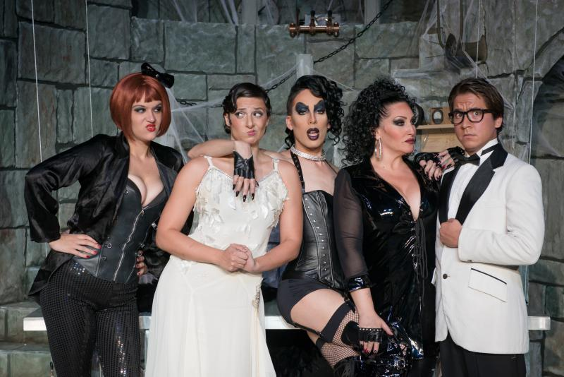"Stars of the Woodlawn Theater's production of ""The Rocky Horror Show."""