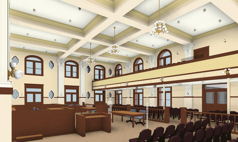 Rendering: The $12.8-million facelift includes restoration of the double-height courtroom on the north end of the Bexar County Courthouse. The original courtroom included a gallery, rose windows, and historic architecture.