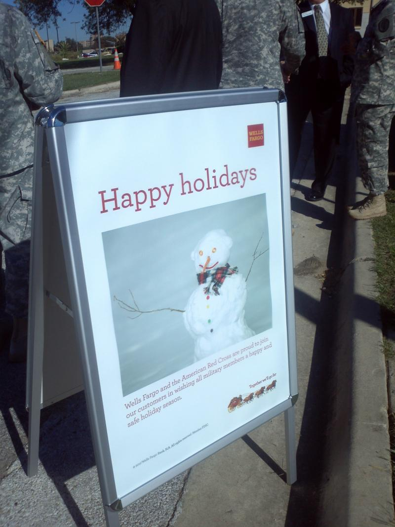 Signs like these mark 47 locations around San Antonio where cards can be signed to send to a military member or a veteran