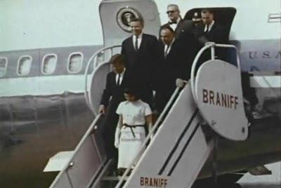 JFK walking off Air Force One after landing in San Antonio.