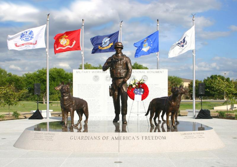 U.S. Military Working Dog Teams National Monument at Lackland AFB dedicated Oct. 29, 2013, by artist Paula Slater, sculptor