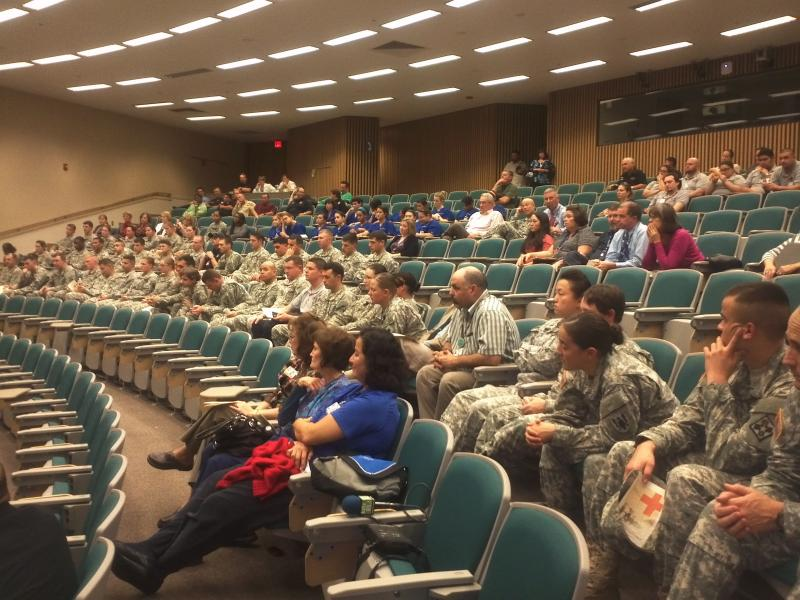 Soldiers from Fort Sam Houston join San Antonio Fire Dept. paramedic trainees and medical students at UT Health Science Center to hear conversation about medevac missions in Afghanistan and Iraq.