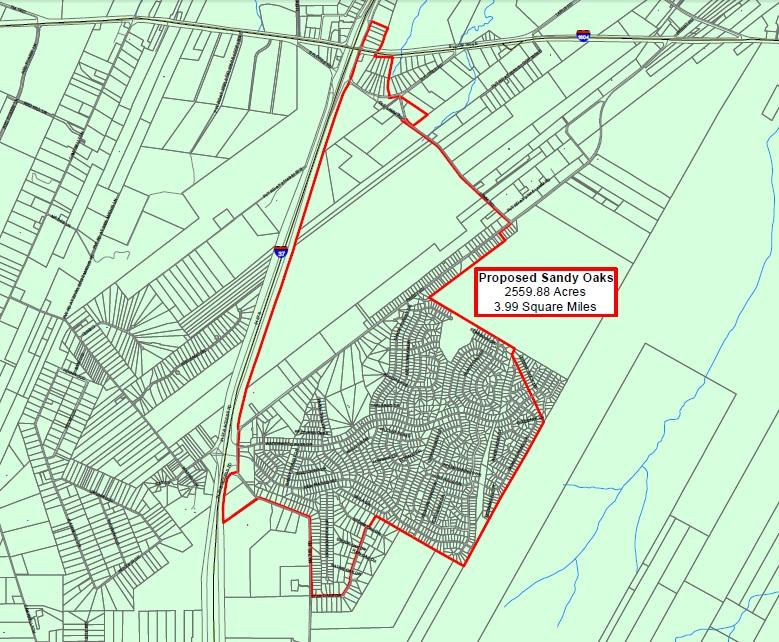 The original 3.99 square miles requested by the citizens of Sandy Oaks. The San Antonio City Council only allowed for 2.4 sq. mi. at Thursday's council meeting.