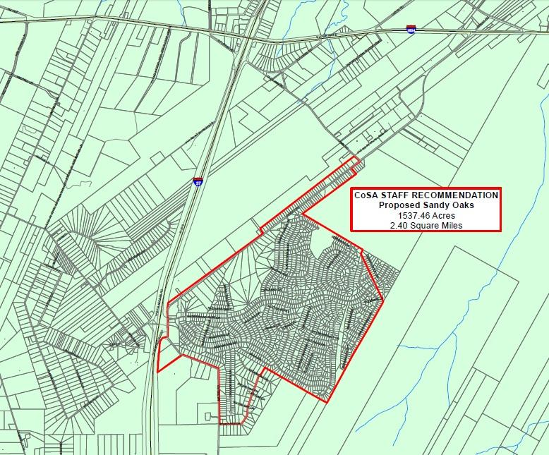 San Antonio City Council approved this 2.4 square mile plot of land for the incorporation of Sandy Oaks.