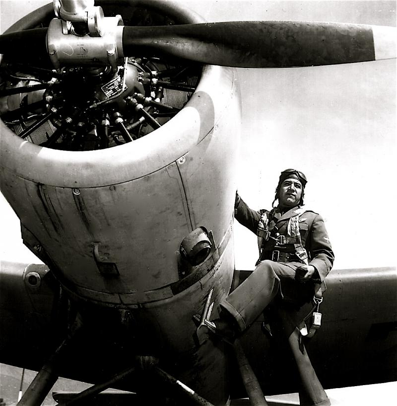Mexican Pilot with Vought-Sikorsky Scout Plane