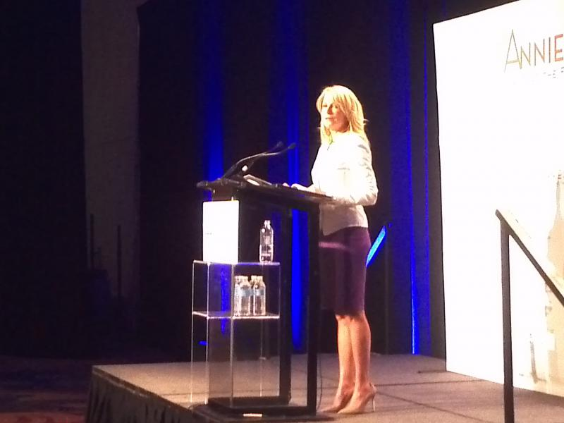 Gubernatorial candidate Wendy Davis speaks to a luncheon of 1,000 supporters at the Marriott Rivercenter Monday.