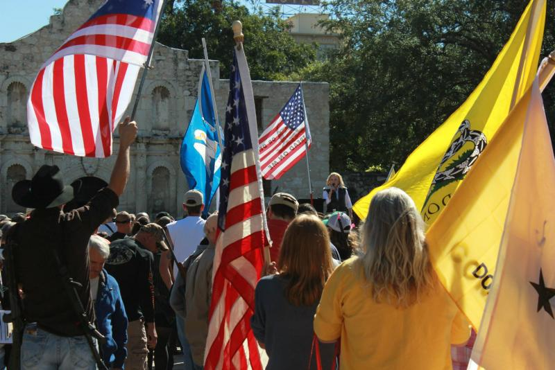 Open Carry Texas members protesting at the Alamo earlier this year.