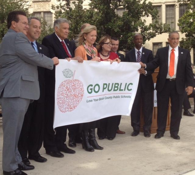 "Bexar County school superintendents at a press conference launching ""Go Public"" campaign."