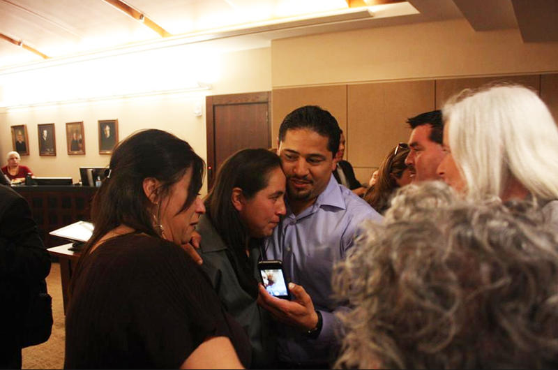 Anna Vasquez is hugged by family and supporters after the ruling that she and three others would be granted bail.