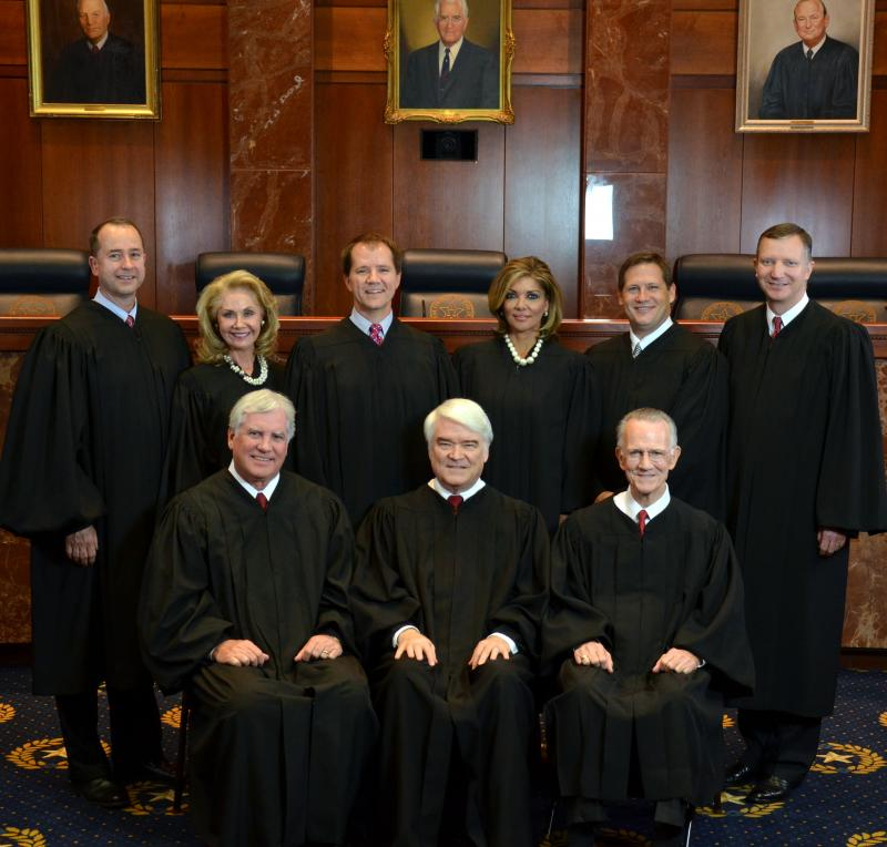 Current bench sitting on the Texas Supreme Court.