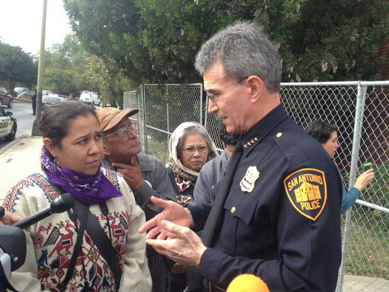 SAPD Chief McManus talks to preservationists. Said they will be arrested if they stay on the other end of the fence.